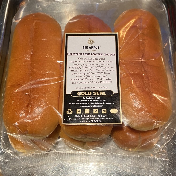 """A 6-pack of Sliced French Brioche Hot Dog Rolls <br /><span class='product-bracket'>(15cm / 6"""")</span>"""